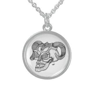 Skull Devil head Black and white Design Sterling Silver Necklace