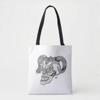Skull Devil Head Black and White Design Tote Bag