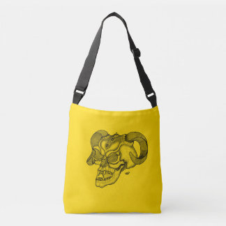 Skull Devil Head Black and Yellow Design Crossbody Bag