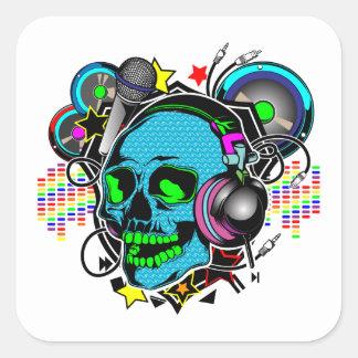 Skull DJ Square Sticker