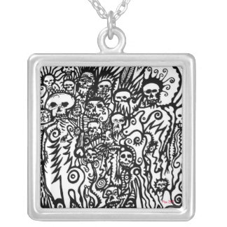 Skull Doodle Square Pendant Necklace