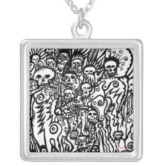 Skull Doodle Square Pendant Necklace