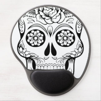 Skull drawing with black ink in white background gel mouse pad