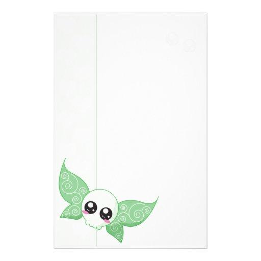 Skull Fairy Green Stationery Design