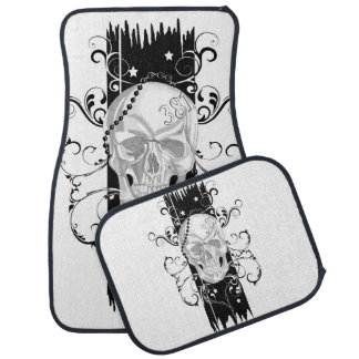 Skull & Filigree Black and white Car Mat Set