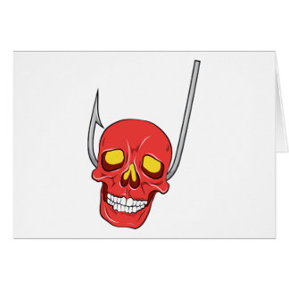 Skull ~ Fish Hook Tattoo Skull Fantasy Art Greeting Card