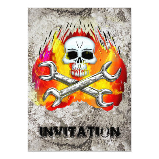 Skull Flames and Crossed Chrome Wrenches 13 Cm X 18 Cm Invitation Card