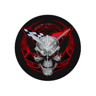 Skull & Flames Corvette Clock