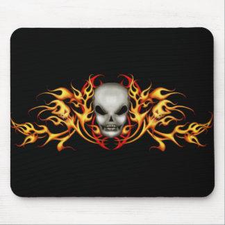Skull Flames   Mousepad - black back
