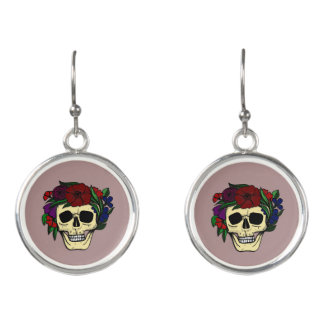 Skull & Flowers Halloween Earrings - Shabby Chic