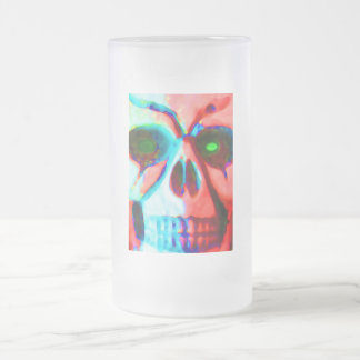 skull frosted glass beer mug