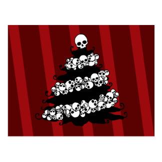 Skull Garland Christmas Tree Postcard