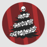 Skull Garland Christmas Tree Round Sticker