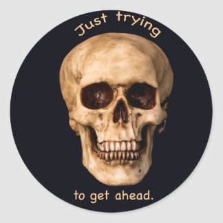 Skull get ahead classic round sticker