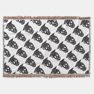 skull graduated from school throw blanket