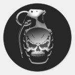 Skull Grenade Round Sticker