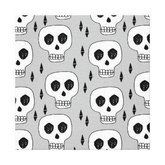 Skull Grey October Halloween / Andrea Lauren Canvas Print