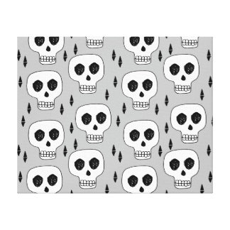 Skull Grey October Halloween / Andrea Lauren Canvas Print