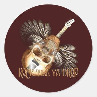 Skull Guitar Classic Round Sticker
