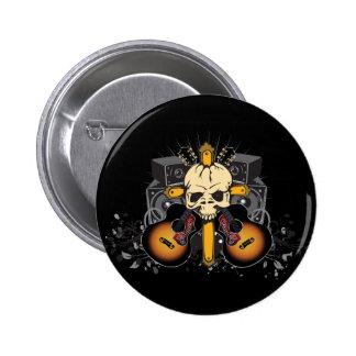 Skull Guitars Speakers Pinback Button