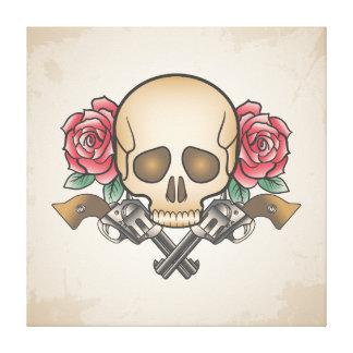 Skull Guns Roses Illustration Canvas Print
