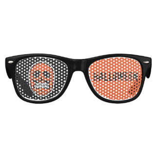Skull Halloween -Orange & Black Kids Sunglasses