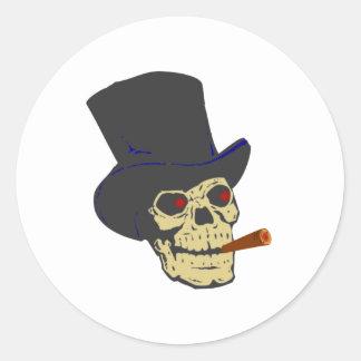 Skull head cigar skull cigar classic round sticker