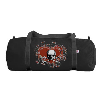 skull head with cross bones and red heart gym duffel bag