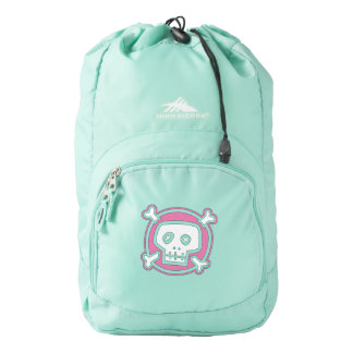 skull head with cross bones graffiti art backpack
