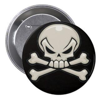 skull head with crossbones pin