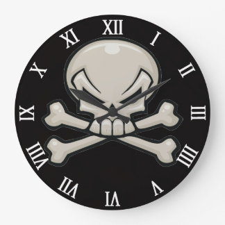 skull head with crossbones wall clock