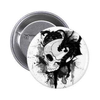 skull head with dragon graffiti buttons