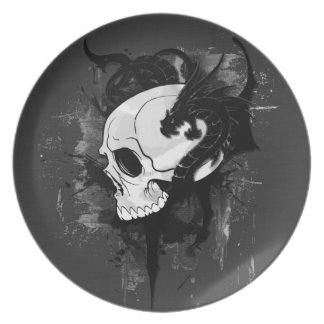 skull head with dragon graffiti party plates