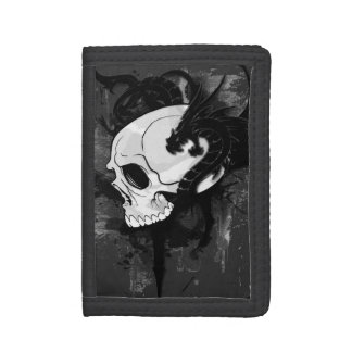 skull head with dragon graffiti tri-fold wallet