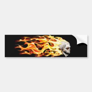 skull head with flames vector art bumper sticker