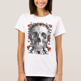 SKULL HEAD WITH VINES AND FLOWERS PRINT T-Shirt