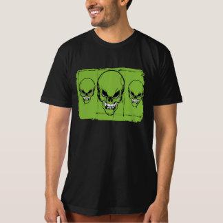 skull heads on green background T-Shirt