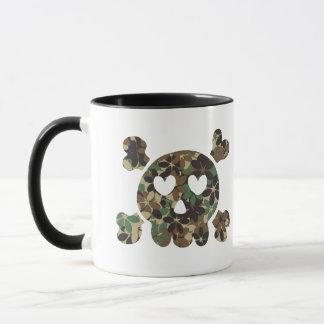 SKULL HEART EYES Flower camouflage Mug