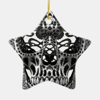 Skull Hearts Ceramic Ornament