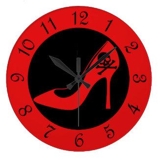 Skull High Heel SHoe Round Clock