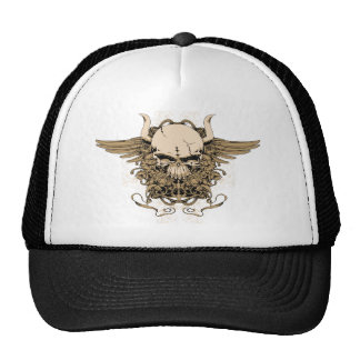 Skull ~ Horned Tattoo Skull Fantasy Art Trucker Hat