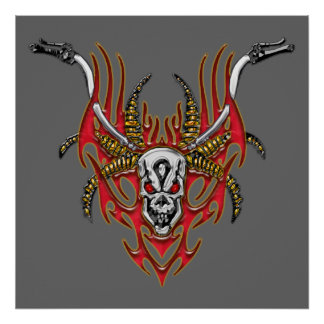 Skull Horns Flames and Handlebars Poster