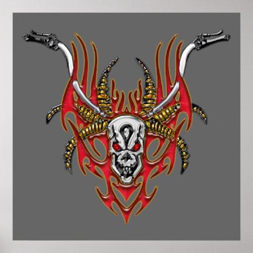 Skull Horns Flames and Handlebars Print