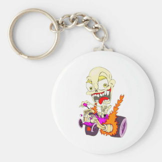 Skull Hot Rod Basic Round Button Key Ring
