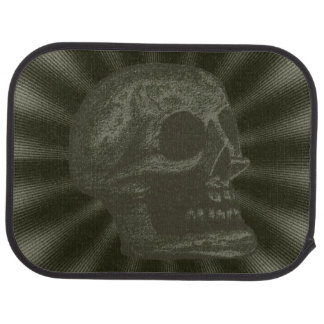 Skull- Illustrated Skull! Deep Green Floor Mat