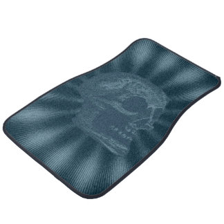 Skull- Illustrated Skull! Ocean Blue Car Mat