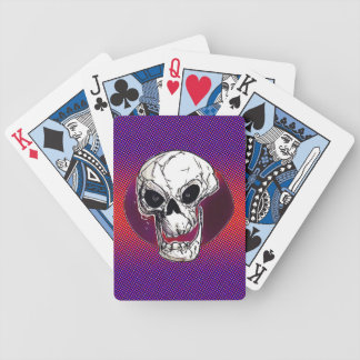skull illustration cartoon style bicycle playing cards