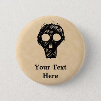 Skull illustration motif. 6 cm round badge