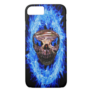 Skull in a ring of blue flames iphone 8/7 case