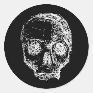 Skull in Black and White. Round Sticker